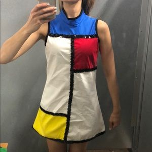 Mod color black dress romper red white blue yellow
